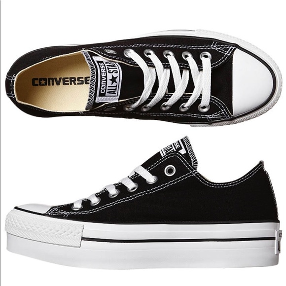 2364e592d2 Black platform low top converse